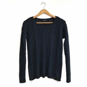 AEO Wool Blend Cable Knit Sweater M Blue